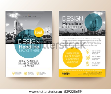 poster flyer pamphlet brochure cover design layout with circle shape graphic elements and space for photo background, blue and yellow color scheme, vector template in A4 size