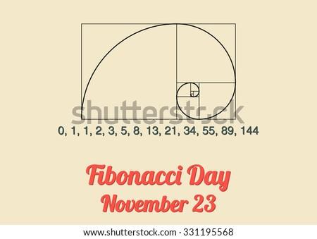 Poster for annual celebration of Fibonacci Day (November 23) with Fibonacci spiral and Fibonacci numbers (Fibonacci sequence)