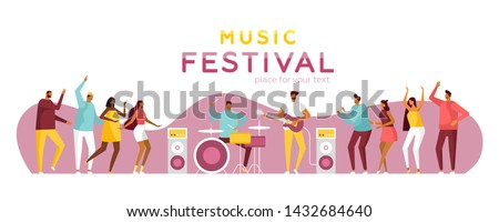 Poster for music summer festival. Open air live performance. Party in park, camp. Pop, rock musicians and funny dancing people. Template for web. Vector illustration, flat design, white isolated