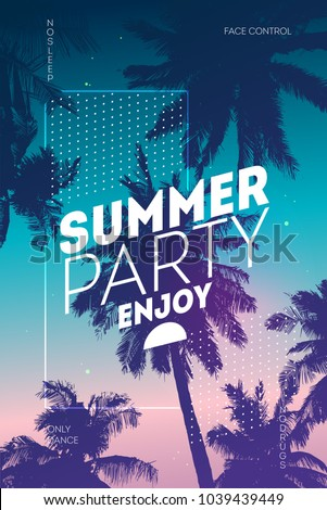 Poster for summer and beach party background. Invitation palm tree template flyer design. Tropical Sunset