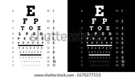 Poster for vision testing in ophthalmic study with which the doctor is testing people on the quality of their vision. Eye test chart
