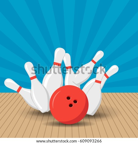 Poster games in the bowling club. Vector background design with strike at alley ball skittles. Flat illustration.