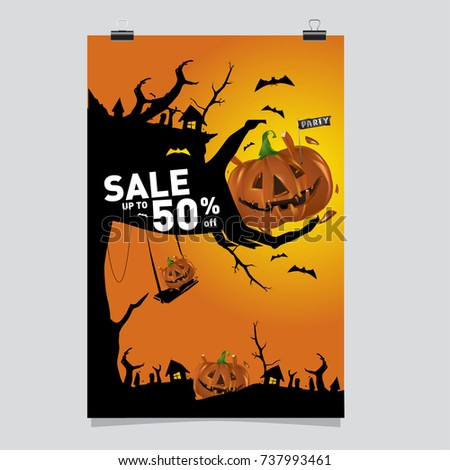 Poster Halloween Sale and Party event. Vector Template Halloween Fall and Autumn season.