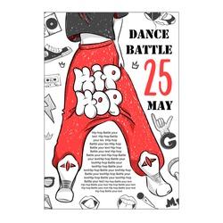 Poster hip hop dance battles. Illustration of legs of street dancer