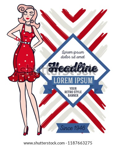 Poster in retro american style, 1950s styled doodle woman, can be used as retro party invitation or as flyer for beauty salon, vector illustration