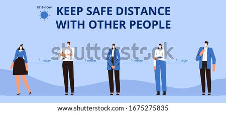 Poster Keep a safe distance with other people. Precautions for the coronavirus epidemic covid-2019. Masked people at a distance of one meter