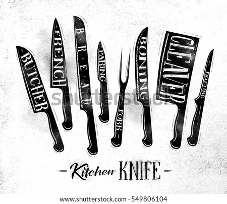 Shutterstock Poster kitchen meat cutting knifes butcher, french, bread, paring, fork, boning, cleaver, filleting drawing in vintage style on dirty paper background
