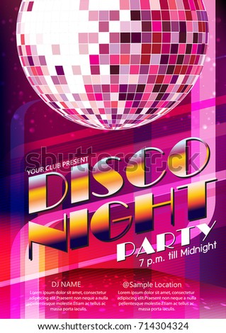 poster layout disco night party with purple disco ball vector