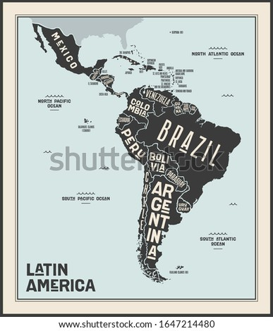 Poster map of Latin America. Black and white print map of Latin America for t-shirt, poster or geographic themes. Hand-drawn graphic map with countries. Vector Illustration Foto stock ©