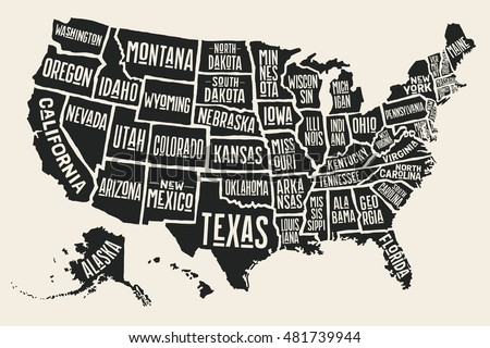 Vector Images Illustrations And Cliparts Poster Map Of United - Black and white map of us
