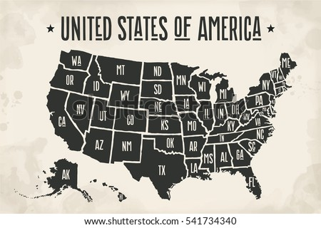 Poster map of United States of America with state names. Black and white print map of USA for t-shirt, poster or geographic themes. Hand-drawn font and black map with states. Vector Illustration Stockfoto ©