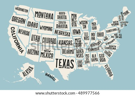 Colorful Vector Map Of The United States Download Free Vector - Us map texas vector