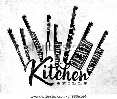 Shutterstock Poster meat cutting knifes butcher, french, bread, paring, fork, boning, cleaver, filleting drawing in vintage style on dirty paper background