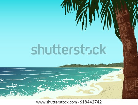 poster of sand beach with palm