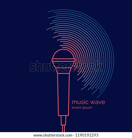 Poster of the sound microphone. Vector illustration Vector illustration of recording music on dark background.