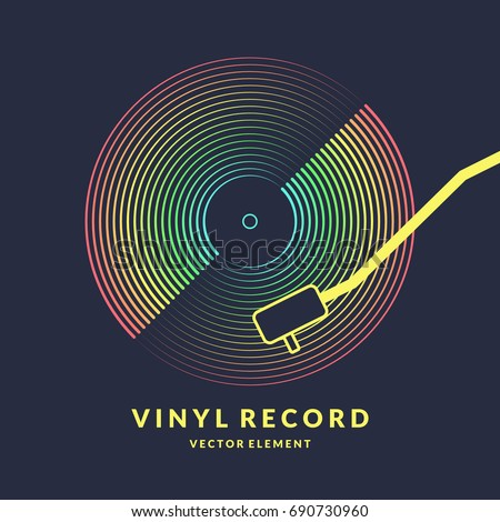 Poster of the Vinyl record. Vector illustration music on dark background.