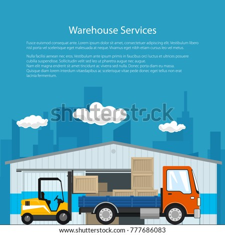 Poster of Warehouse and Delivery Services , Forklift Truck and Small Cargo Car with Boxes , Unloading or Loading of Goods and Text, Flyer Brochure Design, Vector Illustration