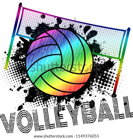 Poster or banner with a volleyball ball and splashes on abstract background, vector illustration