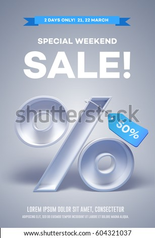 Poster or flyer with 3d percentage symbol with tag on it and place for text. Vector Illustration