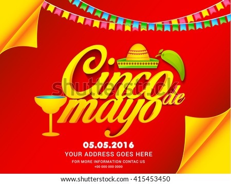 Poster Or Party Flyer Of Cinco De Mayo Celebration Background
