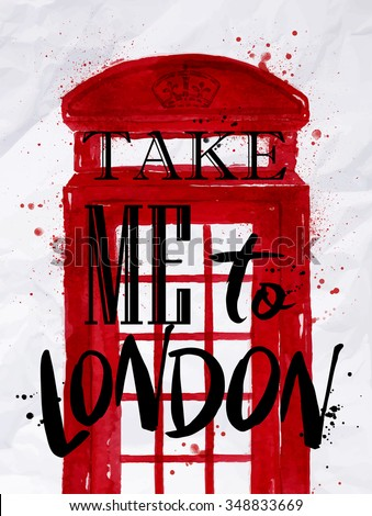 poster phone booth red color