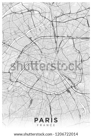 Poster (portrait orientation) with a map of Paris city. Detailed road map of Paris (France). Black and white illustration of transport system of the city of Paris. Streets of Paris.