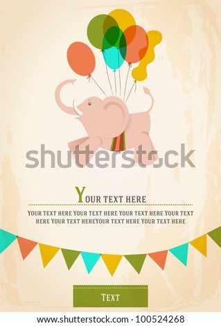 Poster postcard card or invitation with a circus elephant flying on balloons vector Image