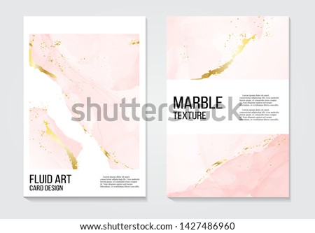 Poster rose gold  invitations concept and Card Template Design with Painted canvas pink and gold foil in luxurious tender soft style Vector Illustration