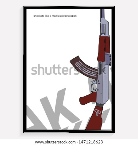 Poster russian gun ak-47. kalashnikova weapon illustration. background. vector