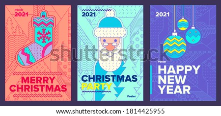 Poster set, Christmas sock, Santa, Christmas toys, 2021, Holiday Christmas Party and New Year Party Invitation Design Template with line art icons