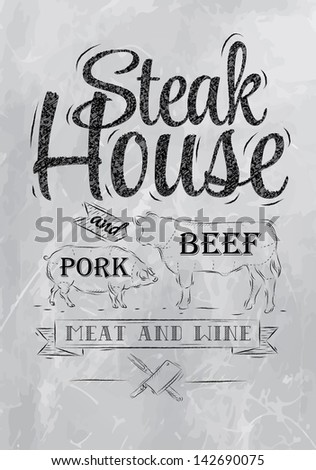 Poster Steak House chalk coal drawing with a pig and a cow in the form of letters