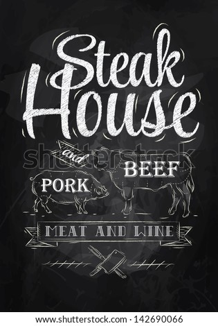 Poster Steak House chalk drawing with a pig and a cow in the form of letters