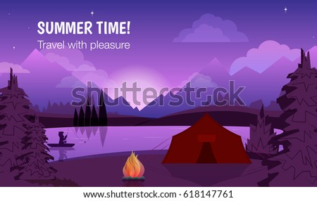 poster summer time  with night