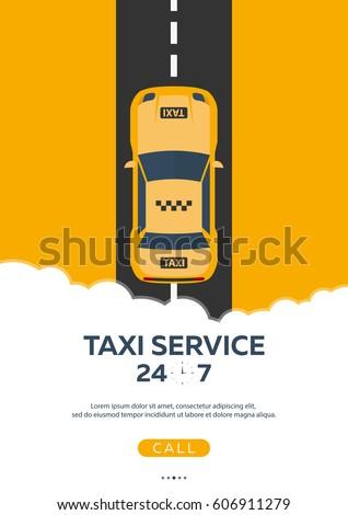 Poster Taxi service. Taxi car. Vector flat illustration