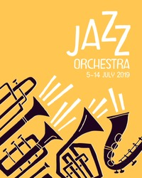 Poster template for jazz music festival, concert or event. Stylized musical brass instruments. Vector illustration in contemporary handdrawn style.