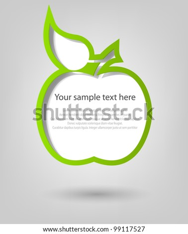 poster template. green apple - stock vector