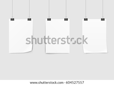 poster mockup hanging with paper clips template download free
