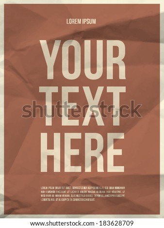 Poster template on colorful crumpled paper texture with frame - vector EPS10