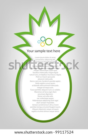 poster template. pineapple - stock vector