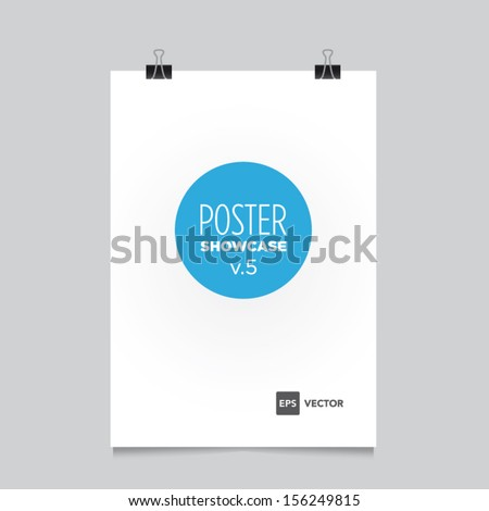 Poster template with bulldog clips vector design. Easy to edit with your picture.