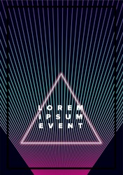Poster template with glowing neon triangle and holographic laser beam on dark background.