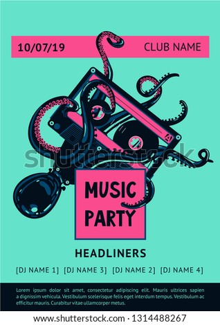 Poster template with octopus and tape record. Night party vector background. Summer dance music festival.