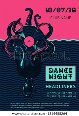 Poster template with octopus and vinyl record. Night party vector background. Summer dance music festival.