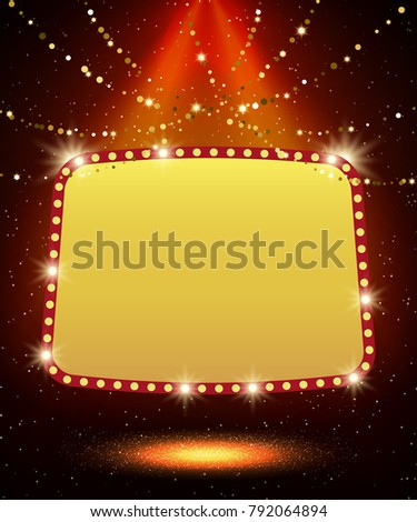 Poster Template with retro casino banner.  Design for presentation, concert, show. Vector illustration #792064894