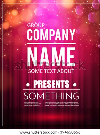 poster template with shining lights music concert party
