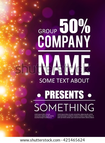 poster template with shining lights. music, concert, party, Graphic Presentation Poster Template, Presentation templates