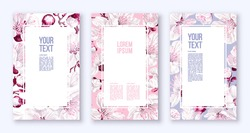 Poster templates with spring flowers. Vector inflorescences of fruit trees. Realistic white-pink flowers on pink, blue, white background. Frames, banners, place for text, flyers, advertising layout
