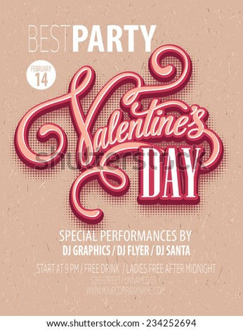 Poster Valentine's Day Party. Vector illustration