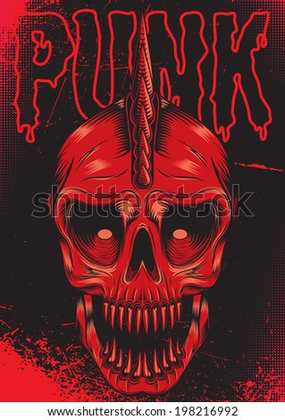 poster with a red skull for
