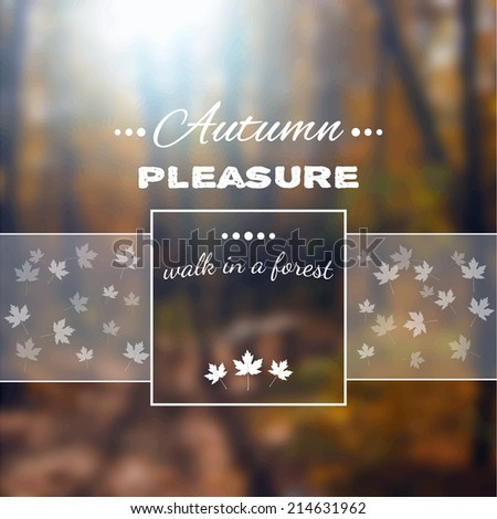 Poster with autumn landscape. Motto, slogan for autumn season. Maple leaves on a autumn forest background. Square emblem for autumn poster about walk in a autumn forest. Photo background with a wood.